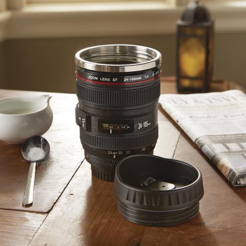 Realistic Camera Lens Travel Mug 'Camera Lens Mug'
