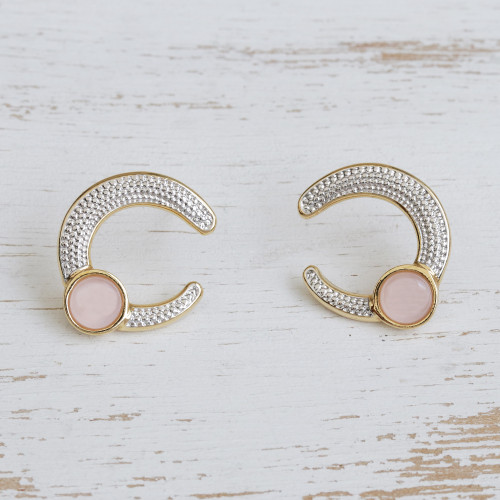 Gold Plated Curved Rose Quartz and Rhodium Drop Earrings 'Magnificent Horseshoes'