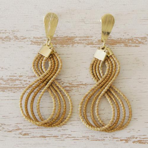 Brazilian Golden Grass Dangle Earrings with 18k Gold Plate 'Glamorous Curves'