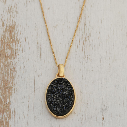 Handcrafted Gold Plated Drusy Pendant Necklace 'Galactic Black'