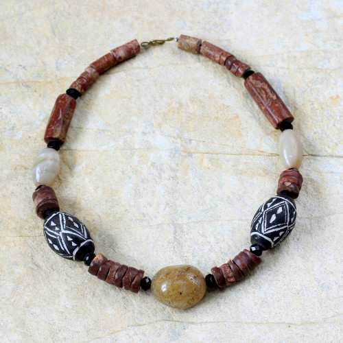 Terracotta and bauxite beaded necklace 'Hope'