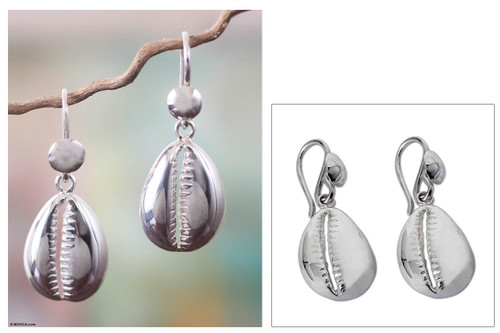 Hand Crafted Sterling Silver Dangle Earrings from Africa 'Abundant Cowrie'
