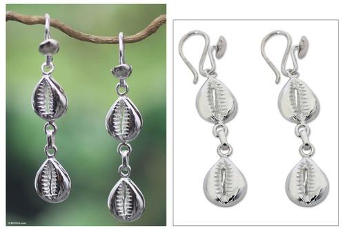 Unique African Sterling Silver Dangle Earrings 'Double Abundant Cowrie'