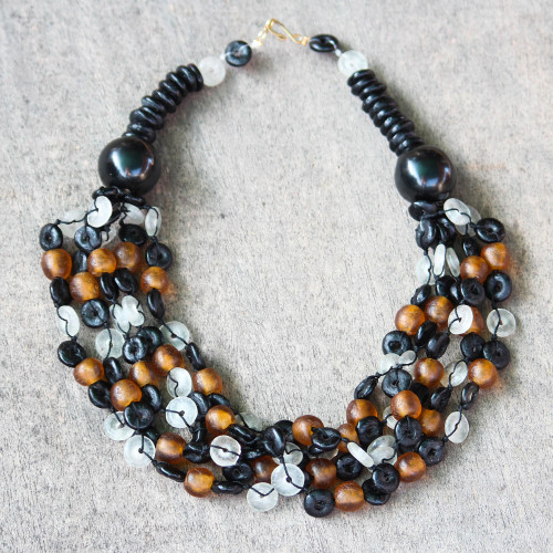 Beaded Torsade Necklace Handcrafted with Recycled Glass 'Deka'