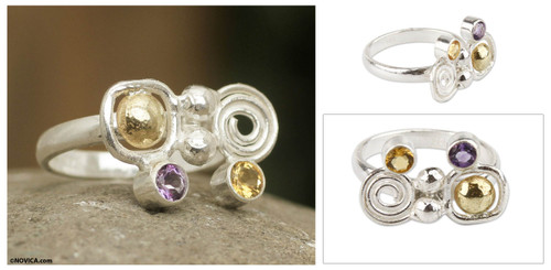 Amethyst and Citrine Silverl Ring with 18k Gold from Peru 'Intriguing Illusion'