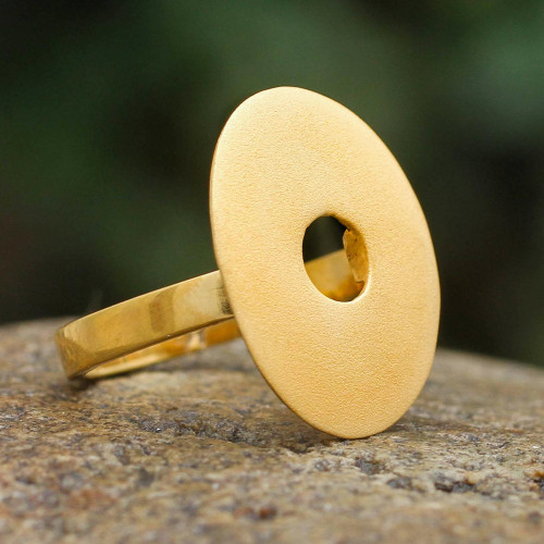 Gold Plated Cocktail Ring Peru Artisan Jewelry 'Golden Aura'