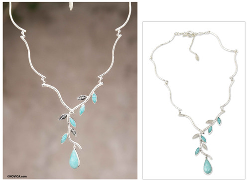 Amazonite on Sterling Silver Necklace Peruvian Jewelry 'Blue Dew'