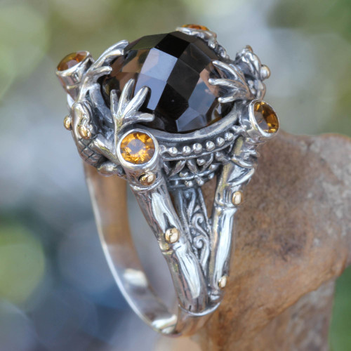 Smoky Quartz Sterling Silver Ring with Gold Accents 'Tropical Frogs'