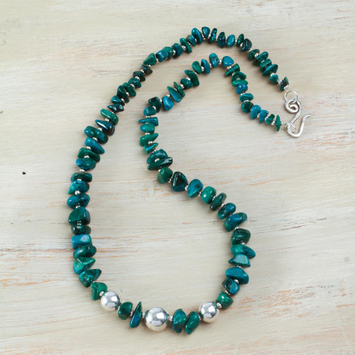 Handcrafted Andean Chrysocolla Necklace with Sterling Silver 'Andean Opulence'