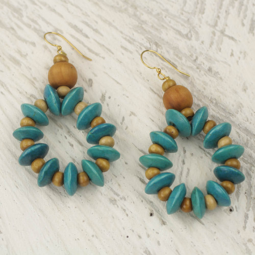 Artisan Crafted Beaded Wood Dangle Earrings from Ghana 'Bloom in Turquoise'