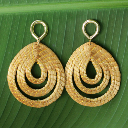Hand Crafted Golden Grass Dangle Earrings with Gold Plating 'Golden Droplets'