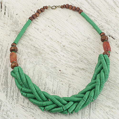 Handcrafted Green Braided Bead Necklace with Wood and Agate 'Sosongo in Green'