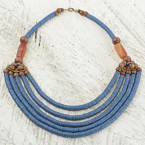 Artisan Blue Bead Necklace with Sese Wood Agate and Leather 'Wend Panga in Blue'