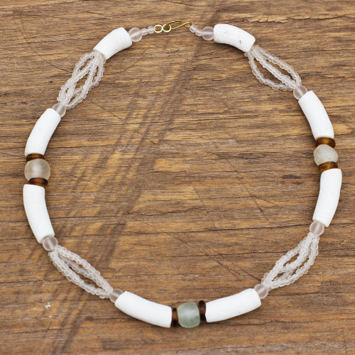 White Recycled Glass Beaded Necklace from Ghana Jewelry 'African Glamour'