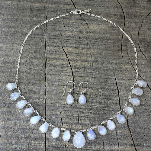 Rainbow Moonstone Jewelry Set Necklace and Earrings 'Lovely Morning'