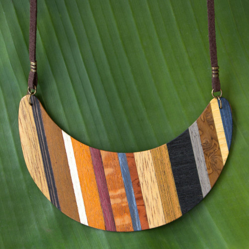 Crescent Shaped Wood Pendant Necklace from Brazil 'Striped Crescent Moon'