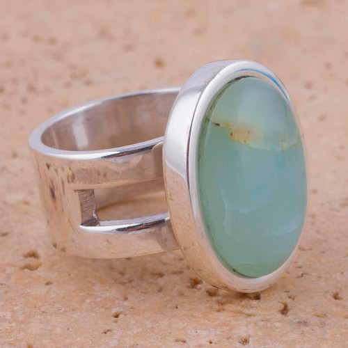 Opal and Sterling Silver Single Stone Ring from Peru 'Powerful Sweetness'