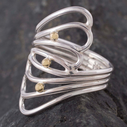 18k Gold Accent Sterling Silver Cocktail Ring from Peru 'Lyrical Queen'