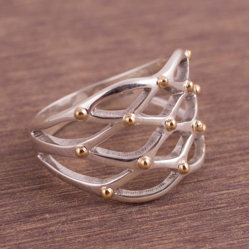 Gold Accent Sterling Silver Cocktail Ring from Peru 'Webbed Love'