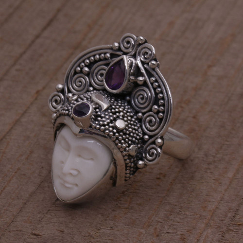 Amethyst and Sterling Silver Face Cocktail Ring from Bali 'Janger Crown'