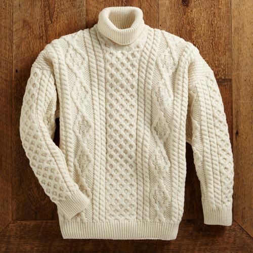 Men's Aran Turtleneck Sweater 'Galway Bay'