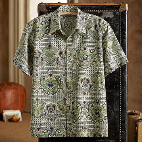 Shekhawati Cotton Shirt, Short Sleeves 'Shekhawati Palace'