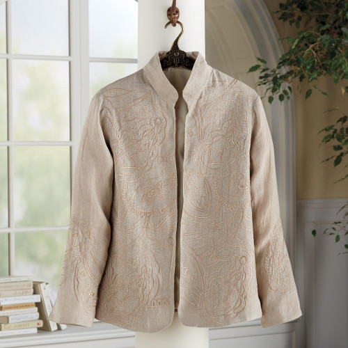 Boteh Embroidered Linen Jacket 'Boteh Beauty'