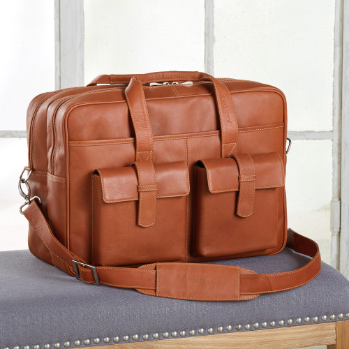 Brown Leather Unisex Carryall Briefcase or Travel Bag 'Cochabamba Classic'