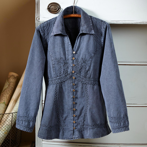Lily of The Incas Button-Front Chambray Blue Blouse 'Lily of the Incas'
