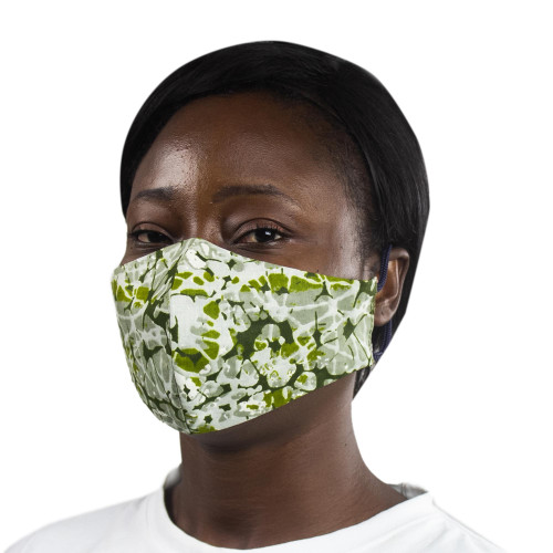 2-Layer African Cotton Print Face Mask in Brown  Yellow 'African Sunflower'