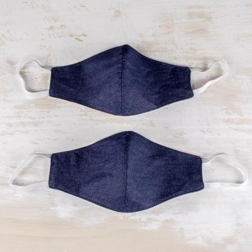 Dark Blue Cotton Denim Three-Layer Face Masks Pair 'Blue Denim Style'