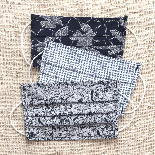 3 Single Layer Navy  Cotton Print Elastic Loop Face Masks 'Island Breeze'