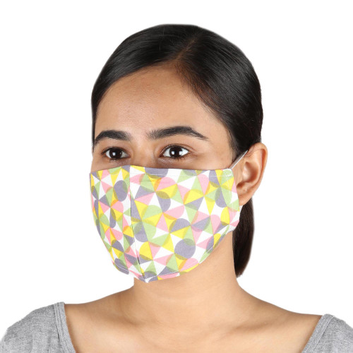 2 Colorful Geometric Print Double Layer Cotton Face Masks 'Happy Harlequin'