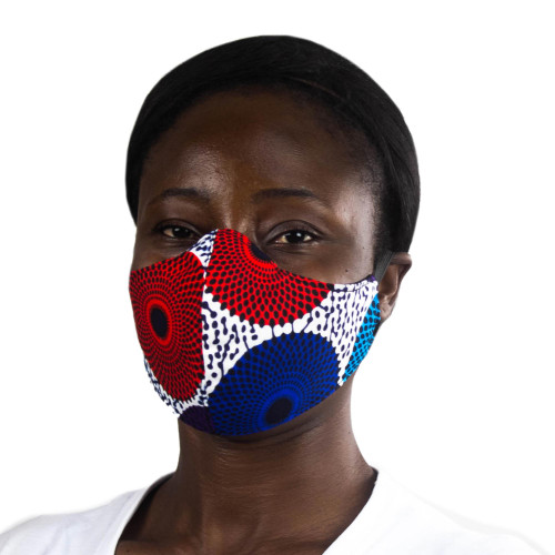 Colorful Sunburst African Print 2-Layer Cotton Face Mask 'African Sunburst'