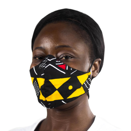 Geometric African Print Red  Yellow Cotton Face Mask 'Bold Geometry'