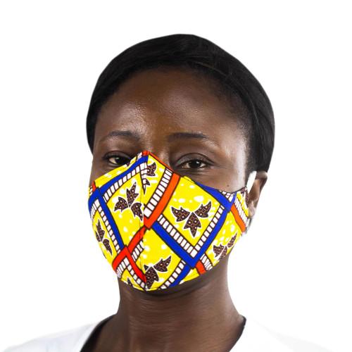 Colorful African Print Fleur de Lis Cotton Face Mask 'Ghanaian Blossom'