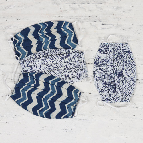 4 Blue Print 2-Layer Ear Loop Pleated Cotton Face Masks 'Cool Blue Moods'