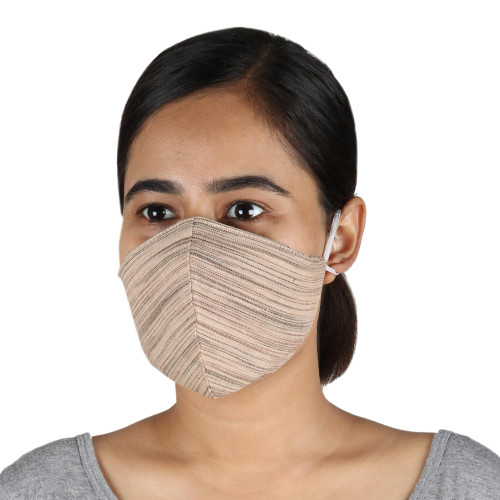 3 Brown and Beige Cotton Contoured Personal Face Masks 'Business Style'