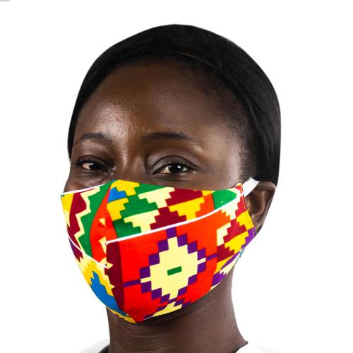 Ghanaian Multicolor Kente African Print Ear Loop Face Mask 'Bright Kente Heritage'