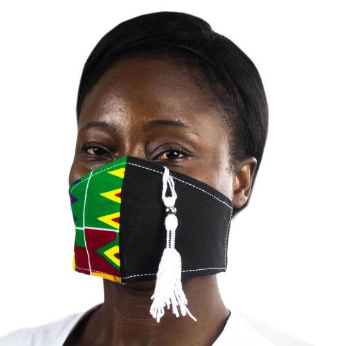 Two-Tone Solid Black and Kente African Print Face Mask 'Kente Tradition'