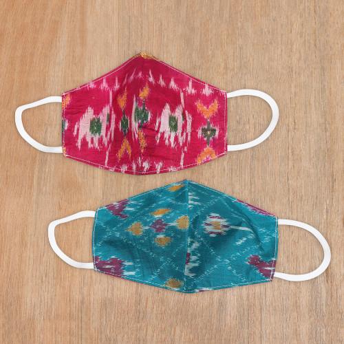 Artisan Handmade Original Silk Ikat Face Masks from India P 'Patola Elegance'