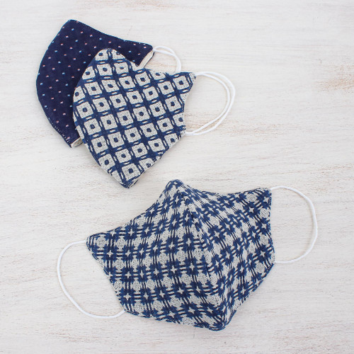 3 Thai Handmade White  Navy Blue Cotton Face Masks 'Cool Thai Blues'