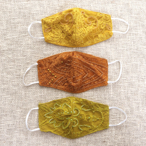 3 Beaded Lace Contoured 2-Layer Rayon Face Masks 'Island Glamour'