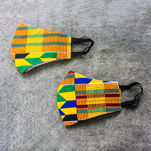 2 Colorful African Kente Print 2-Layer Contour Face Masks 'Edwene Asa'