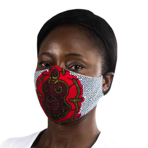 Red  Multicolor African Print 2-Layer Cotton Face Mask 'Red Tortoise Wisdom'
