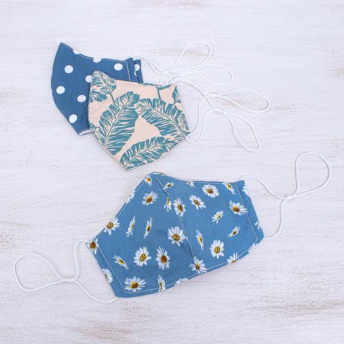 3 Blue Print Filter Pocket Thai Cotton Face Masks 'Blue Thai Summer'
