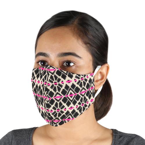 Artisan Handmade Cotton Jacquard Face Masks from India Pair 'Geometric Snowflakes'