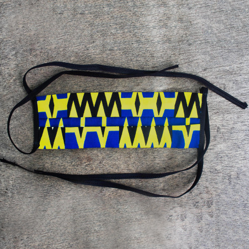Blue  White Cotton African Print Pleated Face Mask 'Seek Virtue'