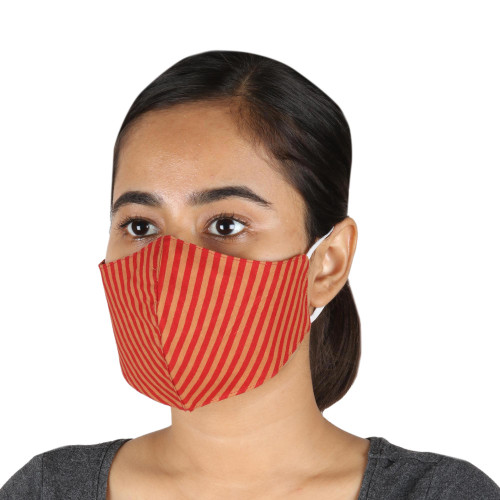 2 Contoured  1 Conical Red and Brown Striped Cotton Masks 'Caramel Apple'