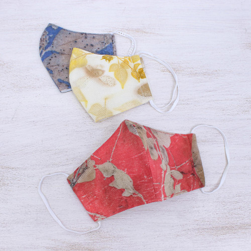 3 Eco-Dyed Red-Blue-Ivory Print Cotton 3-Layer Face Masks 'Bright Nature'